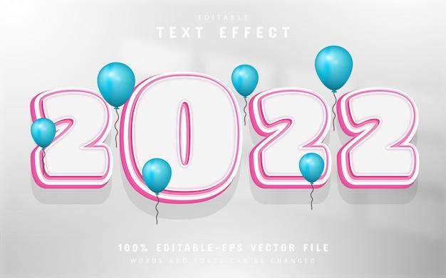 2022 text, editable pink cartoon text effect