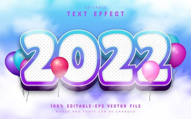 2022 text, editable text effect cartoon style