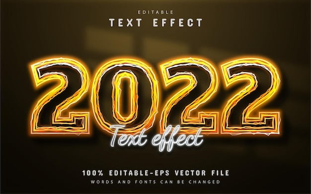 2022 text, editable text effect yellow neon
