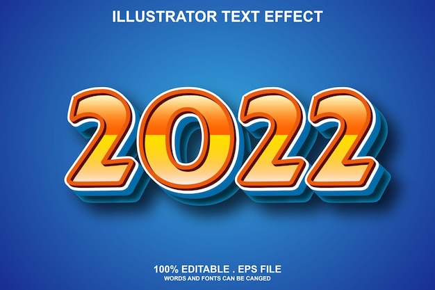 2022 текстовый эффект редактируемый