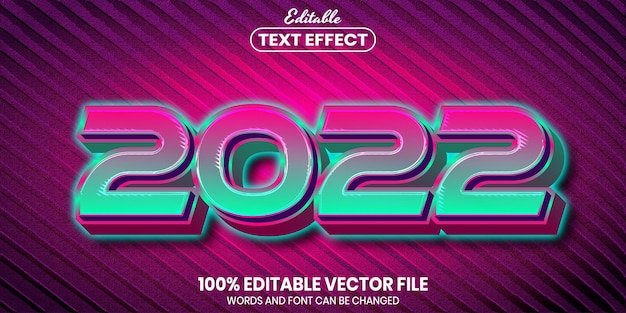 2022 text, font style editable text effect