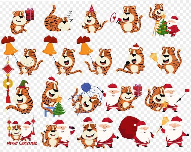 2022년 호랑이의 해. 빨간 산타클로스 의상을 입은 호랑이, 다양한 크리스마스 디자인 요소. 벡터 일러스트 레이 션 번들입니다. 즐거운 성탄절 보내시고 새해 복 많이 받으세요.