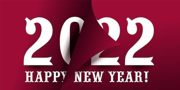2022년 벡터 현대적인 미니멀리즘 2022년 새해 복 많이 받으세요 카드는 진한 빨간색 배경에 큰 숫자가 있습니다. 그림은 잡지, 책의 페이지에 배치됩니다.