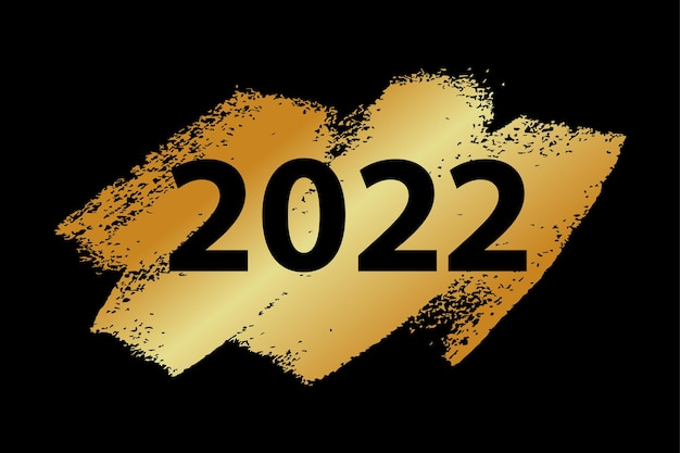 2022 vector text on gold textured. gold 2022 on black background. happy new year card, banner