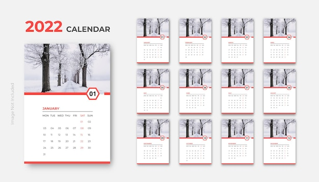 Настенный календарь на 2022 год чистый дизайн готов к печати шаблон вектор