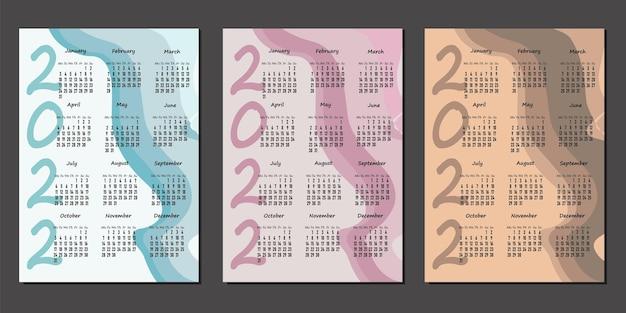 Настенный календарь 2022, шаблон вертикального календаря 2022 в трех цветах, неделя начинается в понедельник