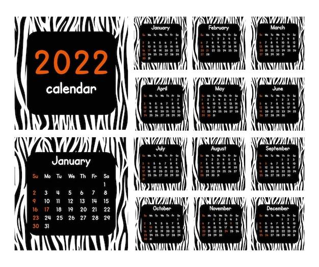 Календарь на 2022 год. современный дизайн с рисунком кожи животных. набор страниц за 12 месяцев. черно-белые векторные иллюстрации.