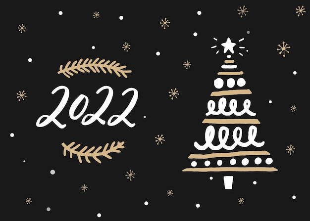 2022 year greeting card with calligraphy numbers and hand drawn christmas tree on dark blue background with golden elements. vector design.