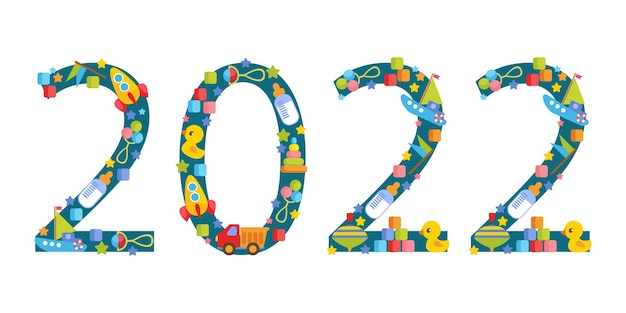 2022 year the inscription is made of various childrens toys  cars construction set balls