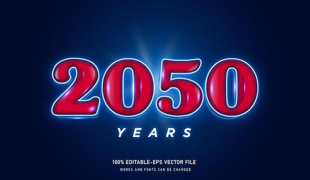 Текстовый эффект 2050 лет и редактируемый шрифт