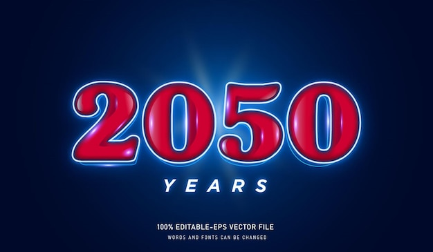2050 years text effect and editable font