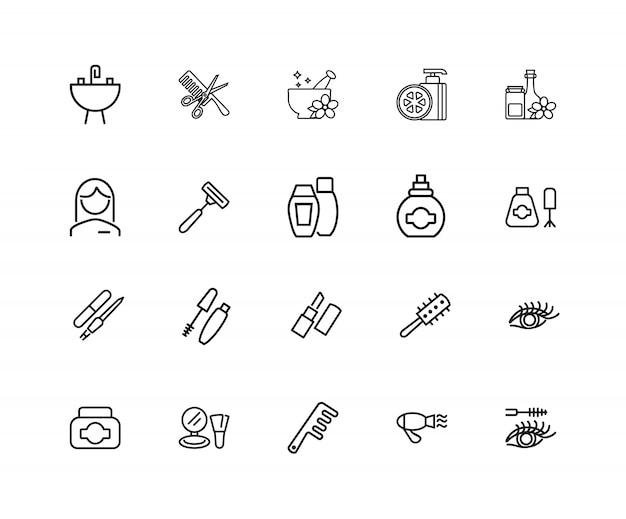 Красочные иконки. набор из 20 значков строк. ароматерапия, парфюмерия, тушь для ресниц