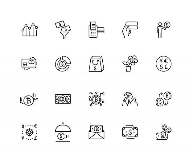 Финансы иконки. набор из 20 значков строк. обмен валюты, криптовалюта, идея финансирования.