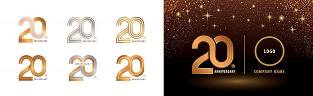 Набор 20-летия дизайн логотипа, двадцать лет юбилей