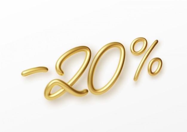 Реалистичный золотой текст с 20-процентной скидкой