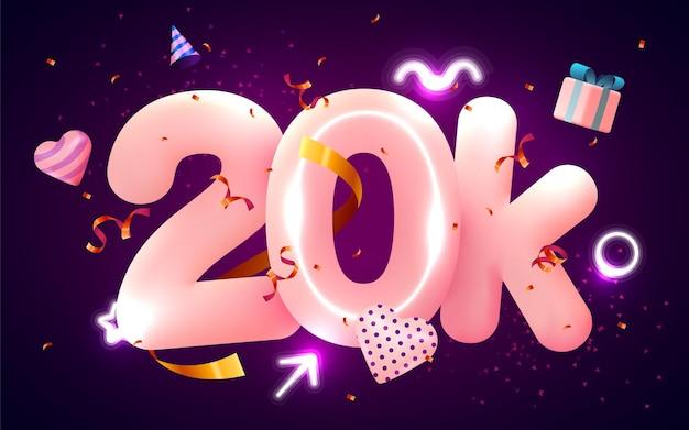 20 тысяч или 20000 подписчиков спасибо розовое сердце, золотые конфетти и неоновые вывески.