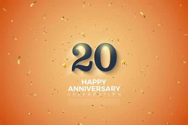 엠보싱 및 빛나는 3d 숫자가있는 20 주년 기념 배경