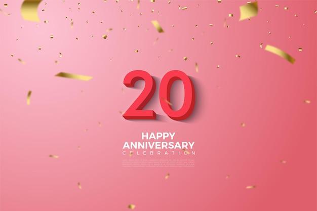 양각 된 빨간색 3d 숫자가있는 20 주년 기념 배경