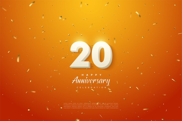 20th anivversary background with white numbers on an orange background and a sprinkling of gold paper