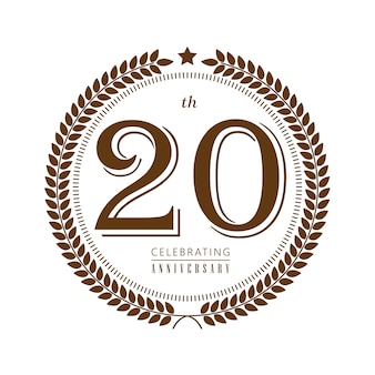 20th anniversary celebrating vector logo on white background