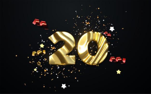 Празднование 20-летия. золотой номер 20 со сверкающими конфетти, звездами, блестками и лентами. праздничная иллюстрация.