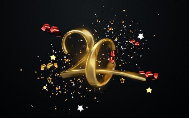Празднование 20-летия. золотые номера со сверкающими конфетти, звездами, блестками и лентами. праздничная иллюстрация