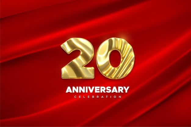 빨간색 드레이프 실크 천에 20 주년 기념 황금 표시