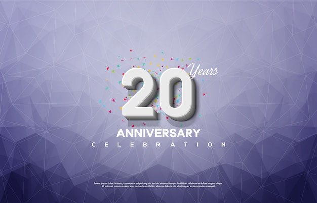 20th anniversary celebration with 3d white numbers on a broken glass background.
