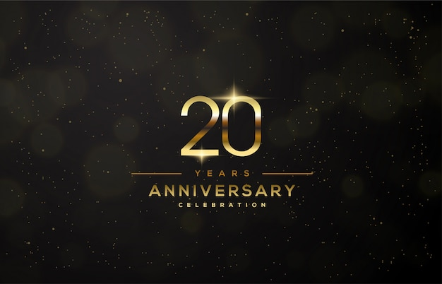 20th anniversary celebration with thin gold numbers.