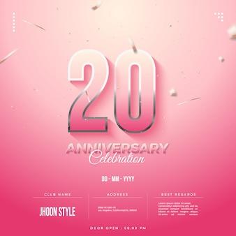 그라데이션 핑크 숫자가 있는 20주년 초대장