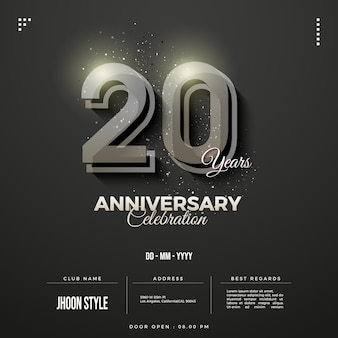 은색 숫자가 있는 20주년 초대장