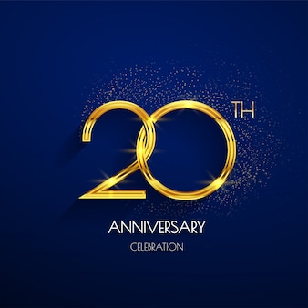 20th anniversary logo with luxury golden isolated on elegant blue background