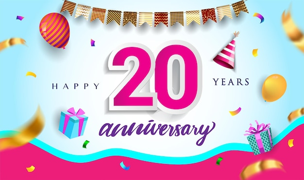 20th years anniversary celebration design with gift box and balloons ribbon