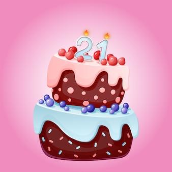 キャンドル番号21の21歳の誕生日のかわいい漫画お祝いケーキ。ベリー、チェリー、ブルーベリーのチョコレートビスケット。