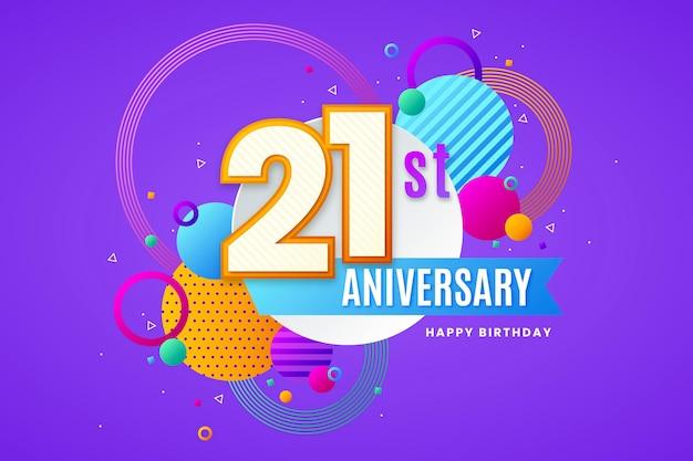 21-я годовщина фон с геометрическими фигурами
