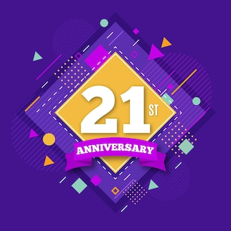 21 anniversary background with geometrical shapes