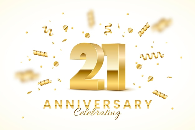 21 anniversary background with golden elements