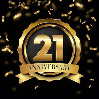Sfondo di 21 anniversario con elementi dorati
