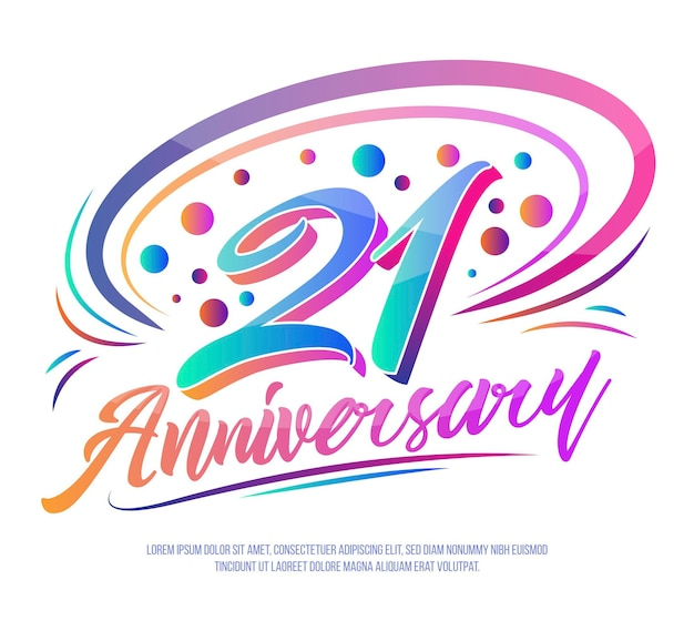 21 anniversary background with gradient elements