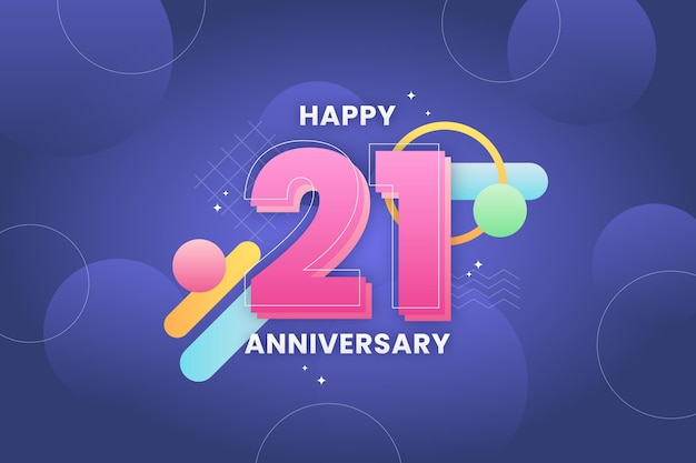 21 anniversary background with gradient elements Free Vector