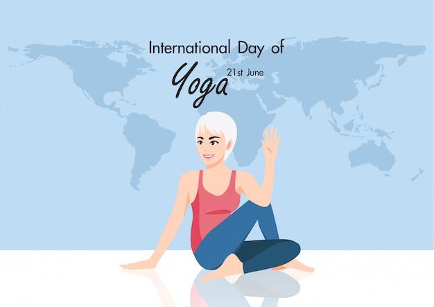 21 june international yoga day with female cartoon character practicing yoga flat design   illustration
