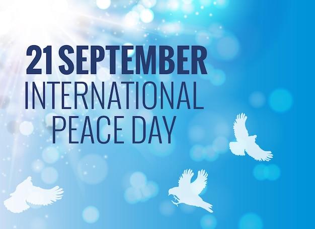 21 сентября фон международного мира. векторные иллюстрации. eps10.