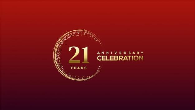Празднование 21-й годовщины с золотыми цифрами в золотом блеске.