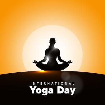 Международный день йоги векторные иллюстрации, фон восход. день йоги 21 июня.