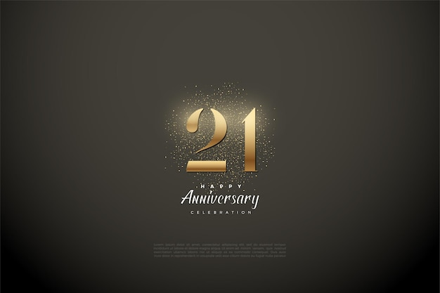 21st anniversary background with golden splash and numbers illustration.