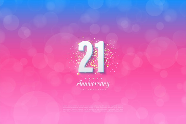 21st anniversary background with graded numbers and background.