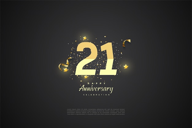 21st anniversary background with graded numbers.