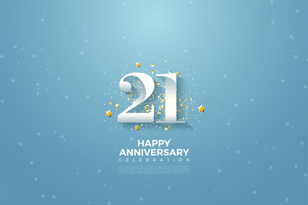 21st anniversary background with number illustration on blue sky.