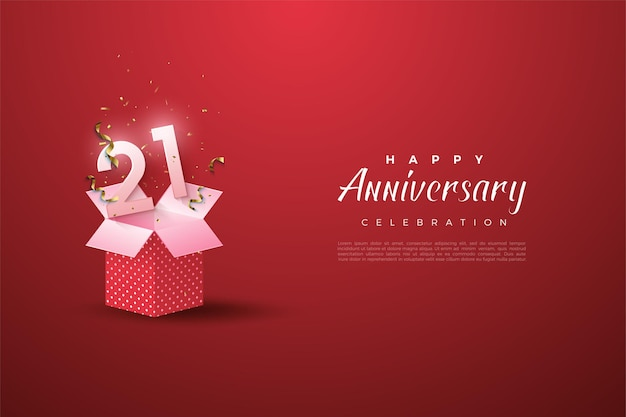 21st anniversary background with a number illustration on an open gift box.