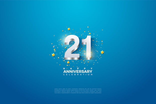 21st anniversary background with numbers arising from silver.